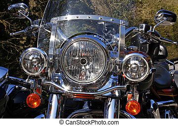 Classic motorcycle front view