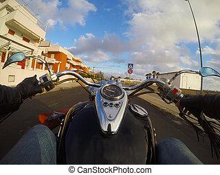 Classic motorcycle in Alghero