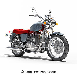 Classic motorcycle isolated on a white studio background