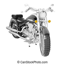 Classic motorcycle or bike isolated on white - Classic black...