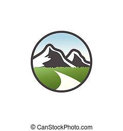 Classic mountain scenery logo design concept vector