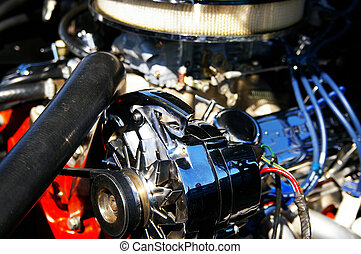 classic muscle car engine, restored chrome parts