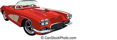 classic-muscle-car, piros