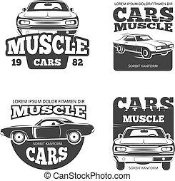 Classic muscle car vintage vector labels, logo, emblems, badges