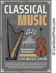 Classic music live show, musical instruments