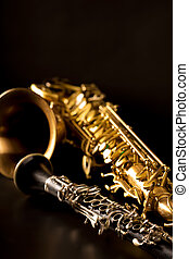 Classic music Sax tenor saxophone and clarinet in black ...