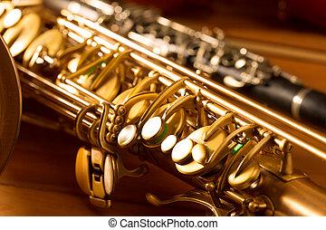 Classic music Sax tenor saxophone and clarinet vintage