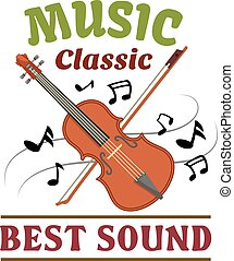 Classic music sign with violin, bow and note