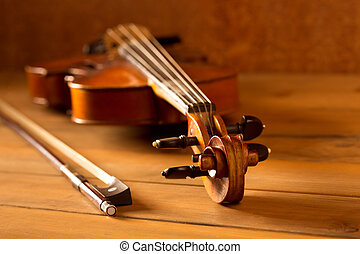 Classic music violin vintage in wooden background