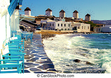 Classic Mykonos view - View of the famous windmills of ...