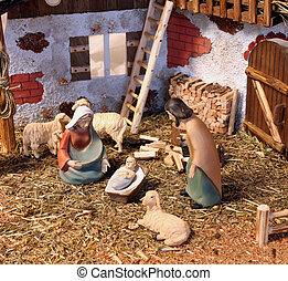 classic nativity scene with baby Jesus Mary and Joseph in...