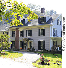 Classic New England American house exterior.