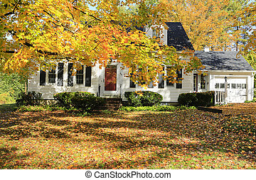 Classic New England American house exterior during fall. - ...