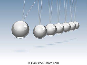 Classic Newton's cradle. Concept of teamwork, vector