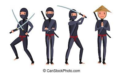 Classic Ninja Vector. Warrior Samurai In Mask. Isolated Cartoon Illustration