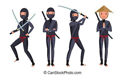 Classic Ninja Vector. Warrior Samurai In Mask. Isolated Cartoon Illustration