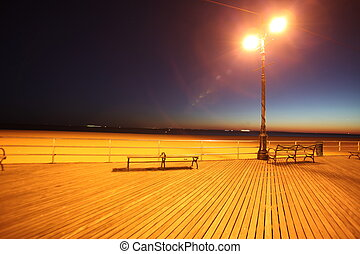 classic NY, evening in Brighton Beach of Coney Island