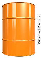 Classic Oil Drum. Orange, isolated on white.