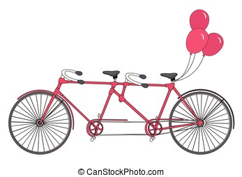 Classic old retro romantic tandem bicycle with balloons vector isolated on a white background.