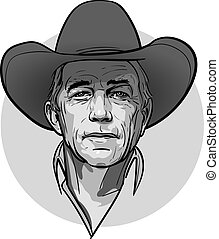 Classic old western style cowboy with hat and bandana. Cartoon sketch style.