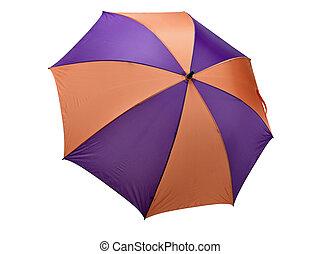 Classic Orange and purple Umbrella on White. Clipping path...