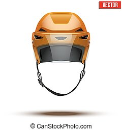 Classic orange Ice Hockey Helmet with glass visor isolated on Background. Vector.