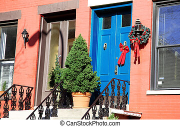 Classic outdoors christmas decor with wreath, NY.