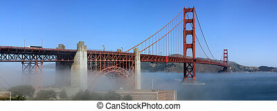 Classic panoramic view of famous Golden Gate Bridge in summer, San Francisco, California, USA