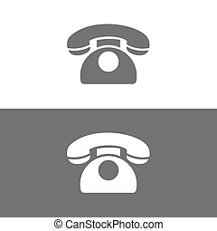 Classic phone icon on a dark and white background