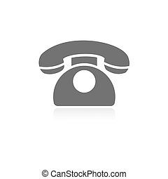 Classic phone icon with reflection on a white background