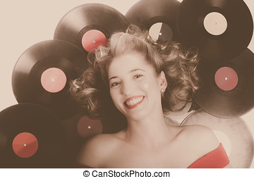 Classic pin up girl on vintage vinyl lp records