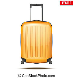 Classic plastic luggage suitcase for air or road travel