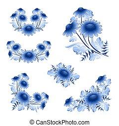 Classic porcelain ornament flowers