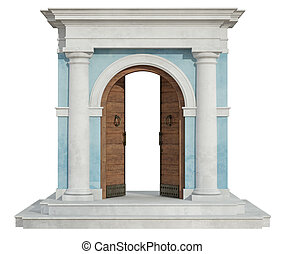 Classic portal with open door - Front view of a classic ...