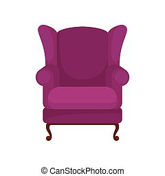 Classic purple armchair with wooden legs. Comfortable furniture for living room. Cozy wingback chair. Flat vector icon