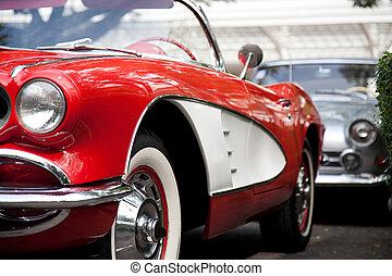 Classic Red Car On The Road. Vintage Series