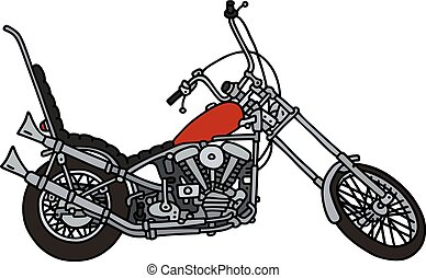 Hand drawing of a classic red chopper