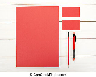 Classic red corporate identity template design. Business stationery.