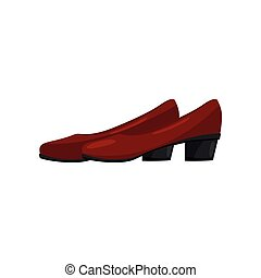 Classic red female shoes with low heels, side view. Trendy women footwear. Fashion theme. Flat vector icon