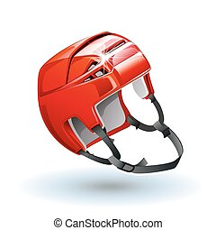 Classic red Ice Hockey Helmet. Realistic sports equipment isolated on white background.