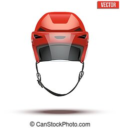 Classic red Ice Hockey Helmet with glass visor isolated on Background. Vector.