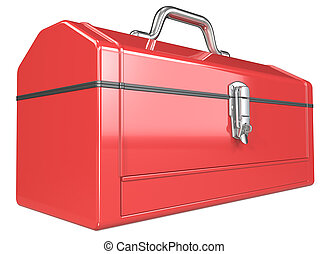 Toolbox. - Classic red metal Toolbox. Perspective view....