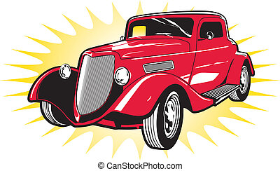 Classic Red Street Rod - Vintage red car