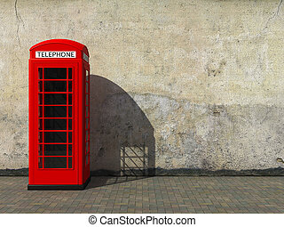 Classic red telephone booth at the dirty grunge wall