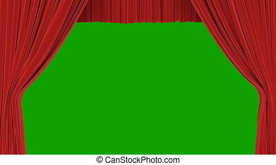 Classic Red Theatrical Abstract Curtains Opening, Rising, Closing with Green Screen. 3d Animation Theater Stage Curtains with Alpha Channel. 4k Ultra HD