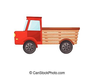 Classic red truck on a white background. Vector illustration.