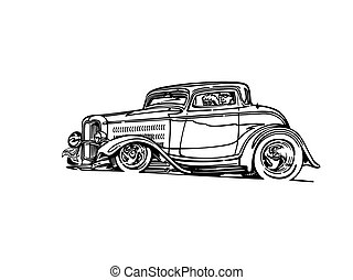 classic retro hot-rod cars, isolated on background.