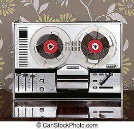 classic retro reel to reel open 60s vintage music recorder
