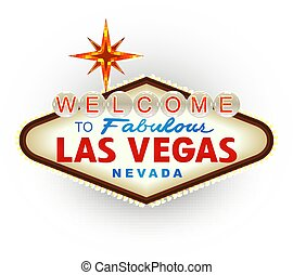 Classic retro Welcome to Las Vegas sign. Vector