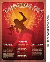 Classic Rock Fest poster design in a striking red and orange...